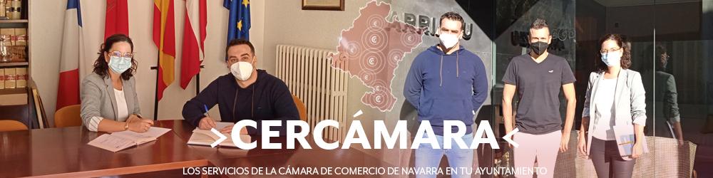 Carlos Bonel, Alcalde en funciones de Ablitas y Beatriz Marugán, técnico de la Cámara de Comercio de Navarra